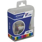 Кнопки канцелярские/гвоздики цветные, 100шт., пласт. упак.