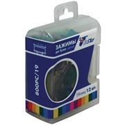 Зажимы для бумаг 19мм, 12шт., цветной металлик, пласт. упак., европодвес