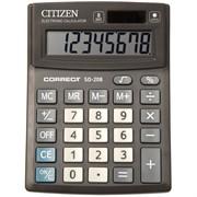 Калькулятор настольный Correct SD 8 разрядов, двойное питание, 103*138*24 мм, черный