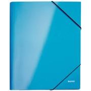 """Папка для бумаг на резинке """"Leitz WOW"""", ламинированный картон, с 3-мя клапанами, голубой глянцевый"""