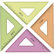 Треугольник 45°, 12см, прозрачный флуоресцентный, 4цв.