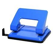 Дырокол 15 л, металлический, синий, с линейкой