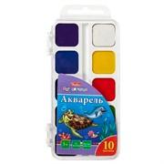 """Акварель """"Дельфины"""" медовая 10 цветов, полусухая, без кисти, пласт. упак."""