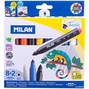 """Фломастеры меняющие цвет, Milan """"643 Maxi Magic"""", 8цв+2, 10шт., утолщенные, смыв., картон, европод."""