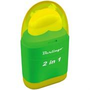 """Точилка пластиковая с ластиком """"2 в 1"""", 1 отверстие, контейнер, ассорти"""